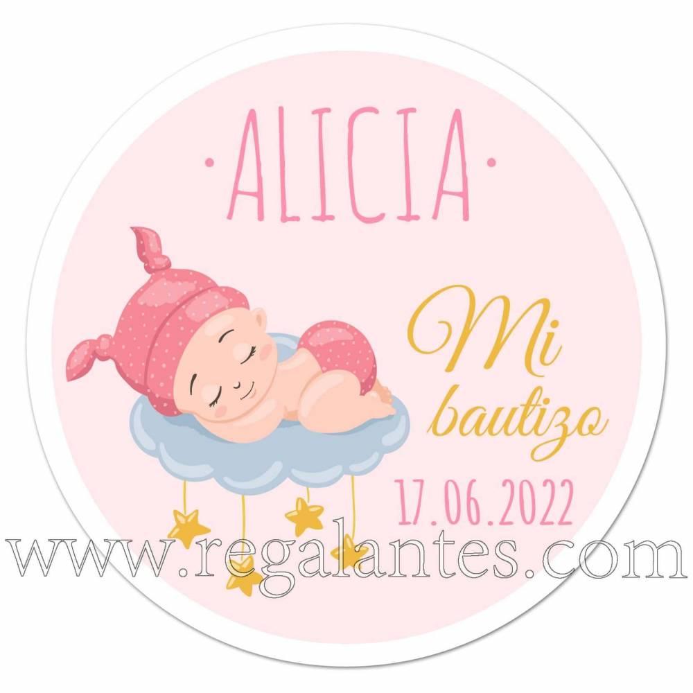 Pegatinas personalizadas para bautizo de niña con dibujo de bebé durmiendo - Pegatinas Y Etiquetas Personalizadas Bautizo