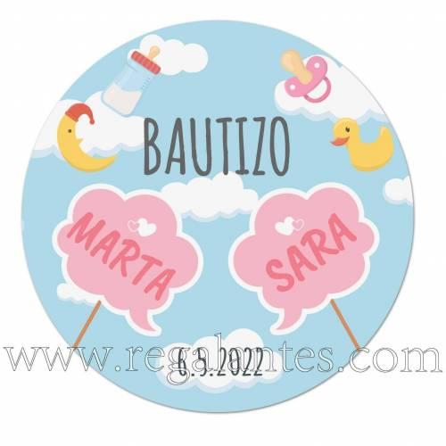 Pegatinas personalizadas de bautizos para gemelas o mellizas niña - Pegatinas Y Etiquetas Personalizadas Bautizo