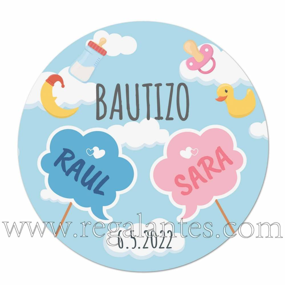 Pegatinas personalizadas de bautizo para mellizos - Pegatinas Y Etiquetas Personalizadas Bautizo