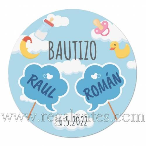 Pegatinas personalizadas de bautizo para niños gemelos o mellizos - Pegatinas Y Etiquetas Personalizadas Bautizo