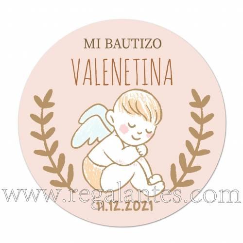 Pegatinas personalizadas de bautizo para niña ángel - Pegatinas Y Etiquetas Personalizadas Bautizo