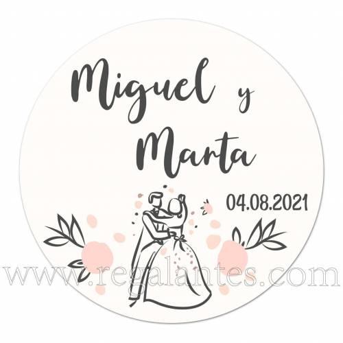 Pegatinas personalizadas para bodas con iniciales - Pegatinas Y Etiquetas Personalizadas boda