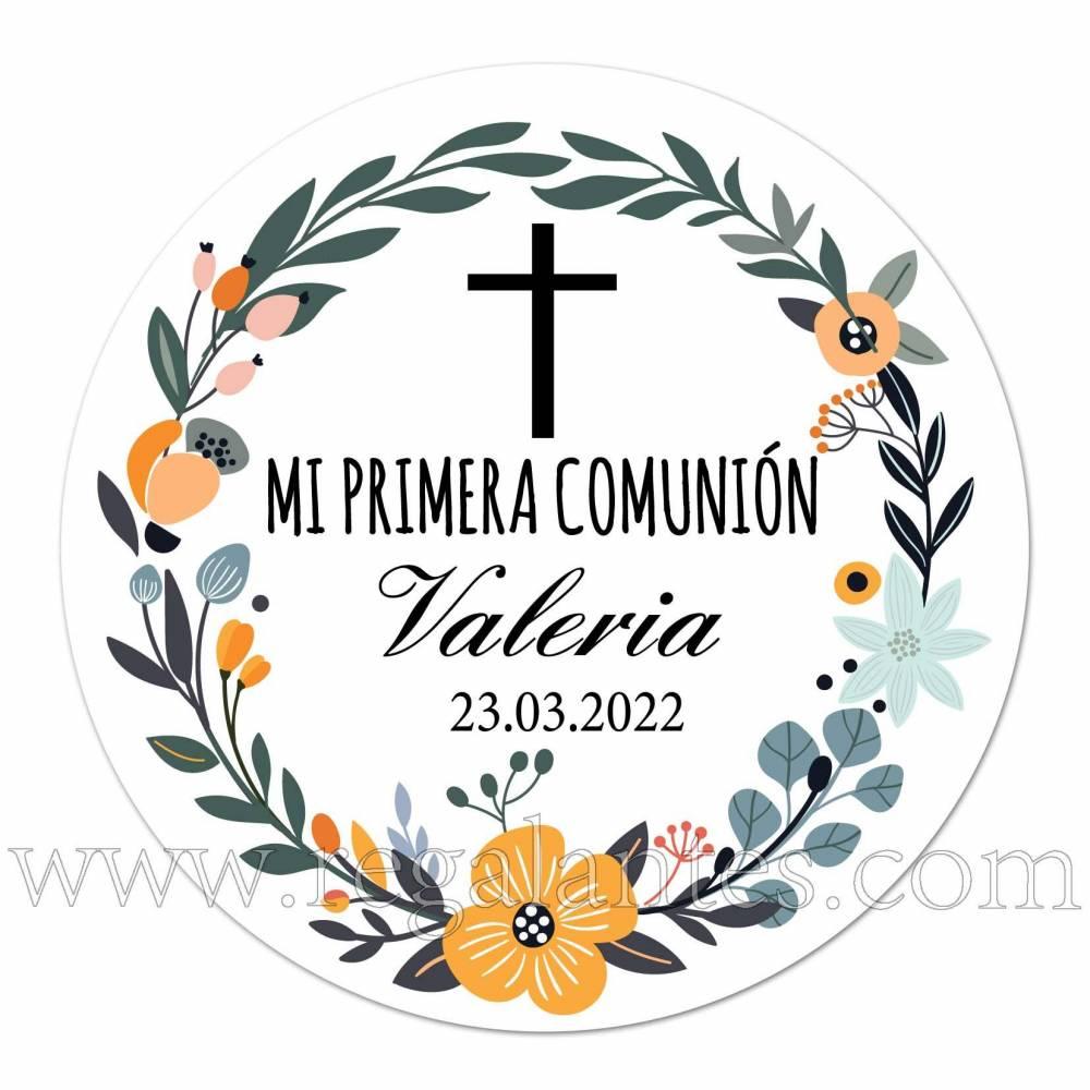 Pegatinas de flores personalizadas con nombre y fecha de comunión - Pegatinas Y Etiquetas Personalizadas Comunión
