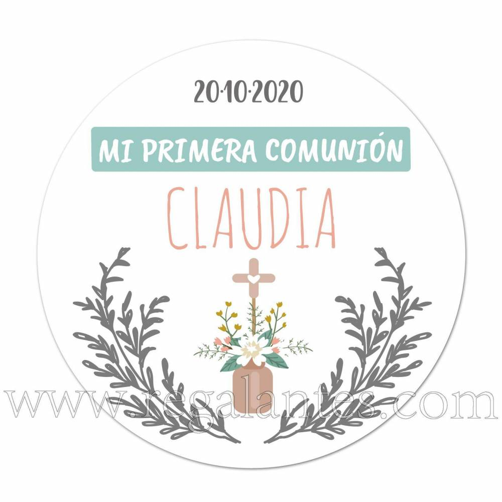 Pegatinas de flores para comunión de niña - Pegatinas Y Etiquetas Personalizadas Comunión