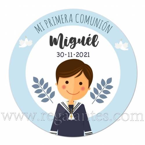 Pegatina azul personalizada para comunión de niño - Pegatinas Y Etiquetas Personalizadas Comunión