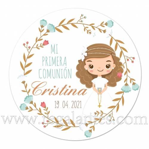 Pegatina personalizada para comunión de niña con dibujo - Pegatinas Y Etiquetas Personalizadas Comunión
