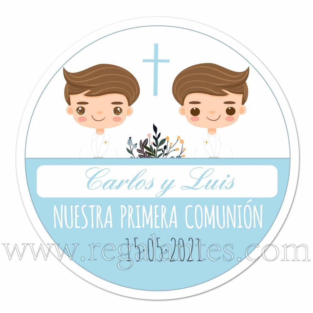 Pegatinas personalizadas para comunión de niños gemelos - Pegatinas Y Etiquetas Personalizadas Comunión