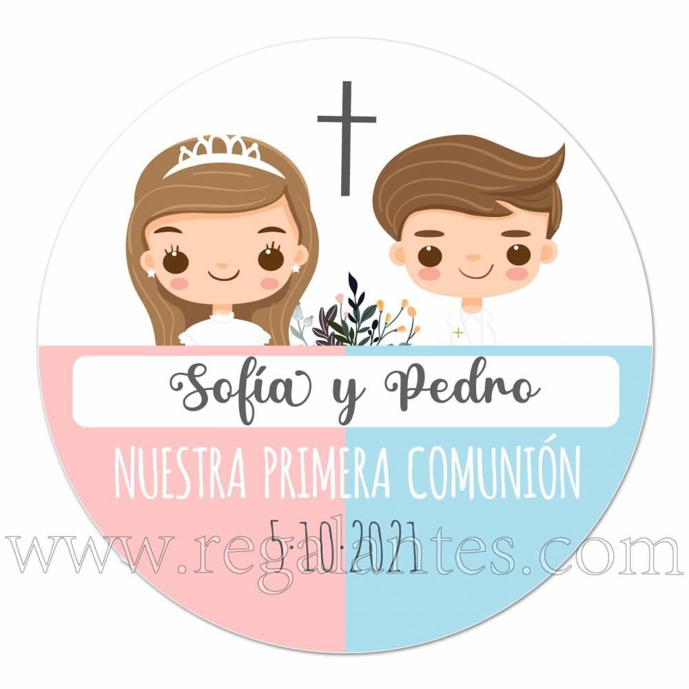 Pegatina de comunión para mellizos chica y chico - Pegatinas Y Etiquetas Personalizadas Comunión