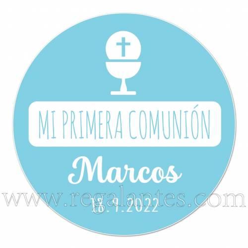 Pegatina personalizada para comunión azul - Pegatinas Y Etiquetas Personalizadas Comunión