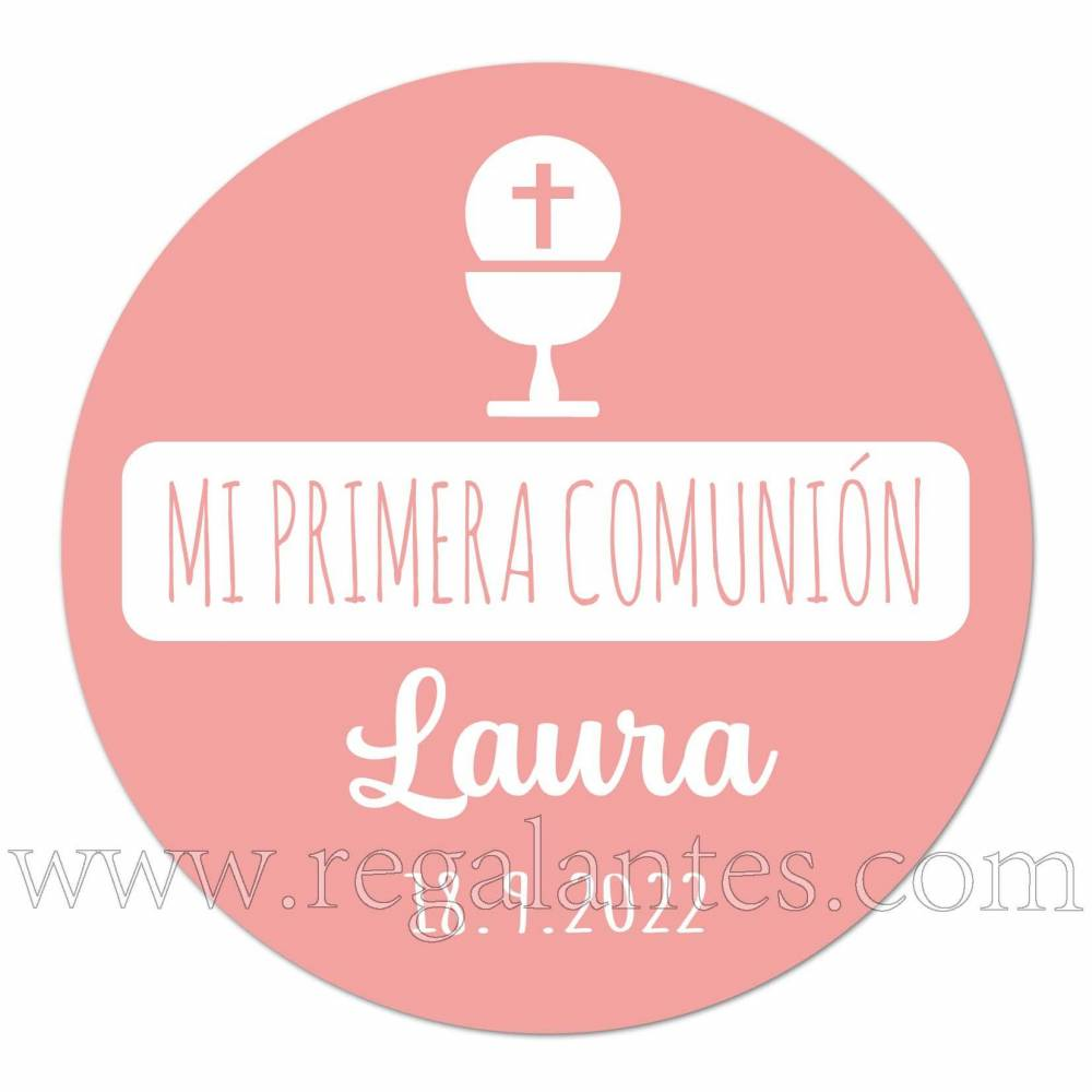 Pegatina rosa para comunión personalizada - Pegatinas Y Etiquetas Personalizadas Comunión