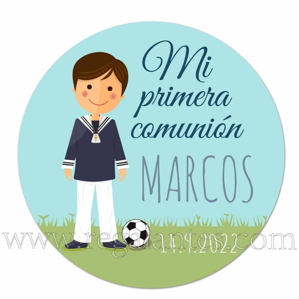 Pegatina personalizada para comunión con dibujo de niño con fútbol - Pegatinas Y Etiquetas Personalizadas Comunión
