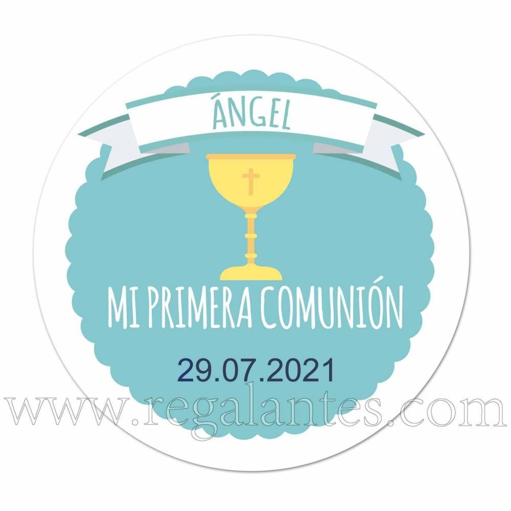 Pegatina personalizada para comunión con dibujo de cáliz - Pegatinas Y Etiquetas Personalizadas Comunión