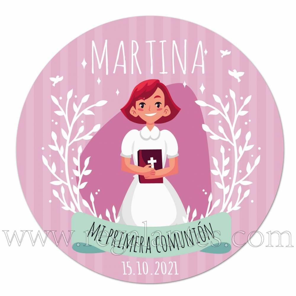 """Pegatina de niña """"mi primera comunión"""" - Pegatinas Y Etiquetas Personalizadas Comunión"""