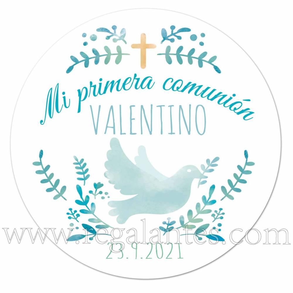 Pegatina para comunión de niño con diseño de paloma - Pegatinas Y Etiquetas Personalizadas Comunión