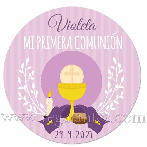 Pegatina personalizada para comunión con diseño en lila - Pegatinas Y Etiquetas Personalizadas Comunión