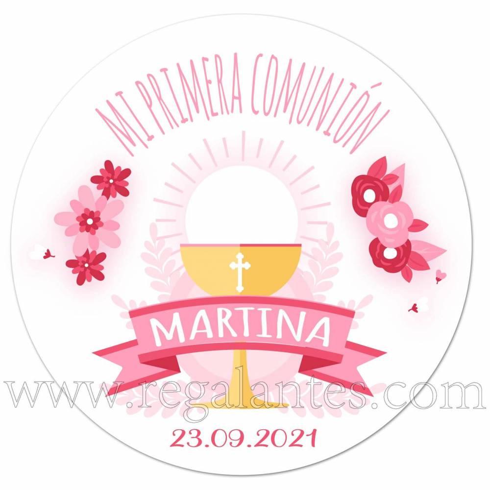 Pegatina rosa personalizada para la primera comunión de niñas - Pegatinas Y Etiquetas Personalizadas Comunión