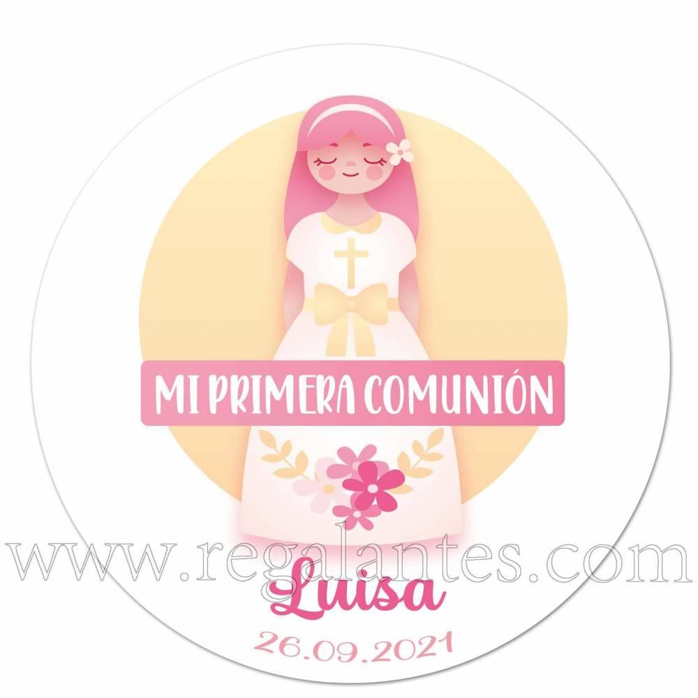 Pegatina personalizada para comunión con dibujo de niña - Pegatinas Y Etiquetas Personalizadas Comunión