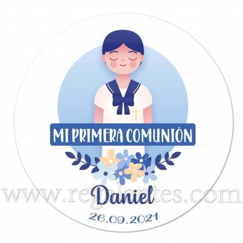 Pegatina personalizada para comunión con dibujo de niño - Pegatinas Y Etiquetas Personalizadas Comunión