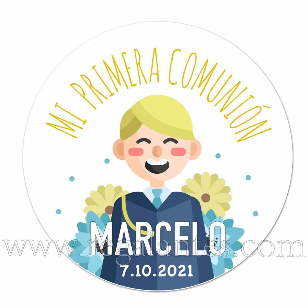 Pegatina personalizada comunión con niño alegre - Pegatinas Y Etiquetas Personalizadas Comunión