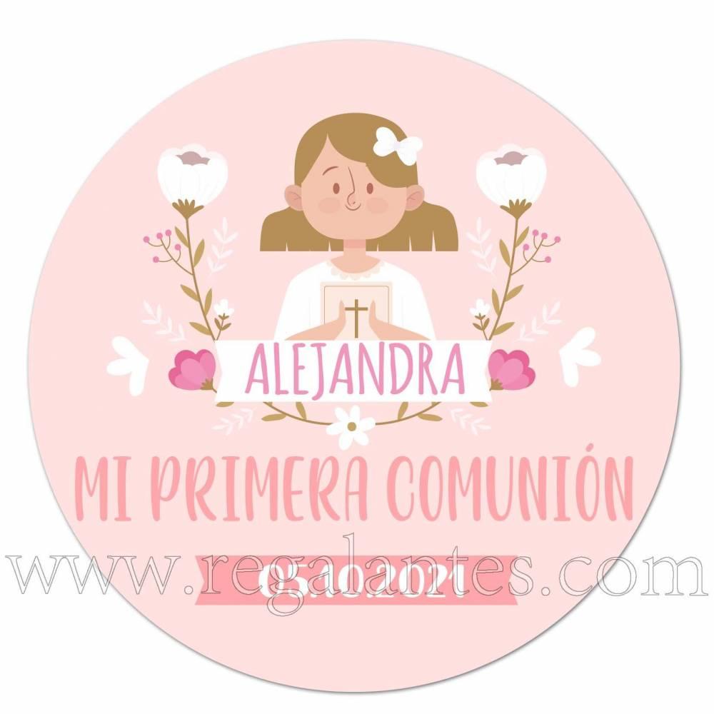 Pegatina personalizada comunión niña tono rosa - Pegatinas Y Etiquetas Personalizadas Comunión