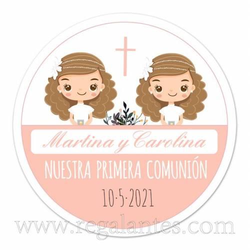 Pegatinas personalizadas para comunión de gemelas - Pegatinas Y Etiquetas Personalizadas Comunión