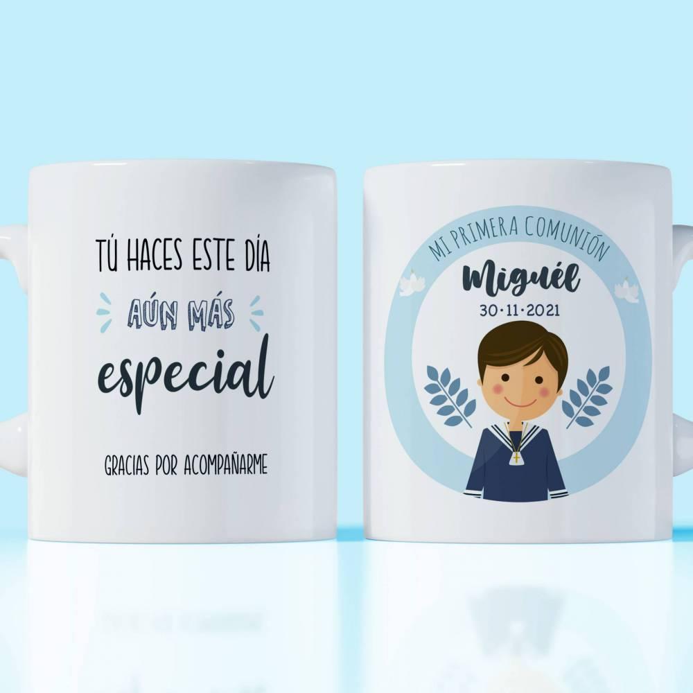 Taza cerámica primera comunión personalizable niño especial para invitados - Detalles Personalizados