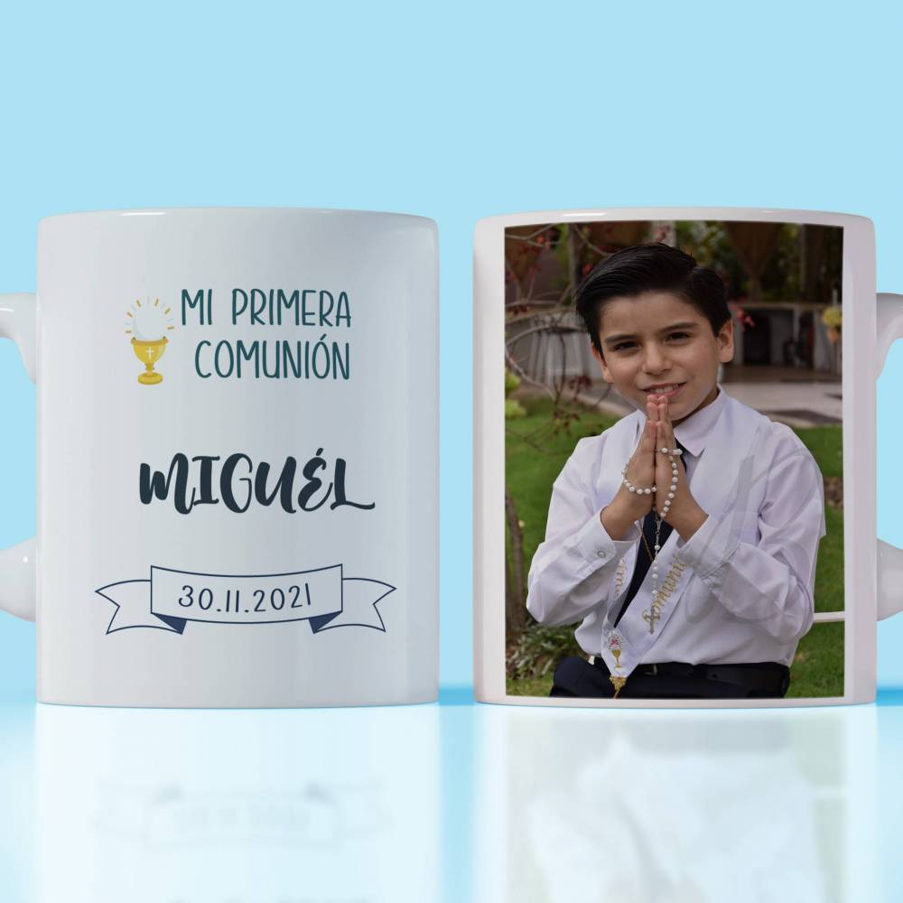 Taza personalizada de la primera comunión con foto del niño - Detalles Personalizados