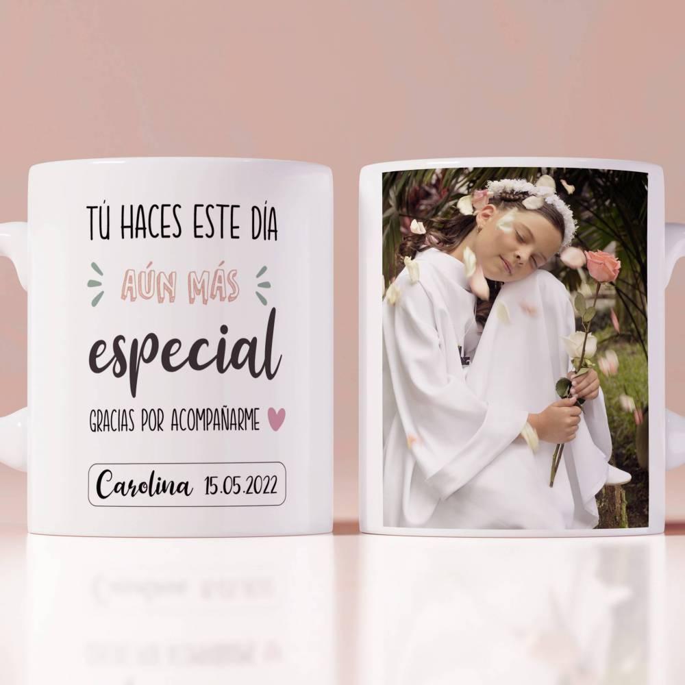 Taza de primera comunión para invitados personalizada con foto de niña - Detalles Personalizados