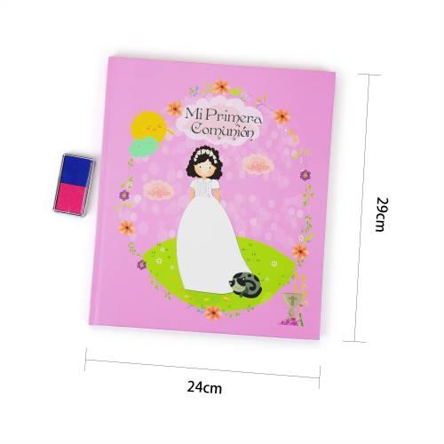 Libro Comunión Firmas Original con Almohadilla para Árbol de Huellas Niña (2 Colores) - Libros Comunión Firmas y Huellas