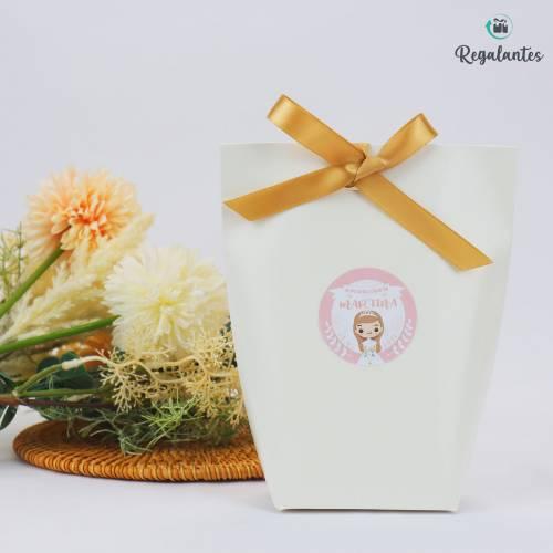 Cajas regalo comunión papel con lazo dorado cuadrada - Envoltorio Regalo