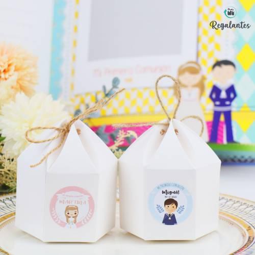 Caja para regalo comunión invitados cartón Redonda con lazo - Envoltorio Regalo de comunión
