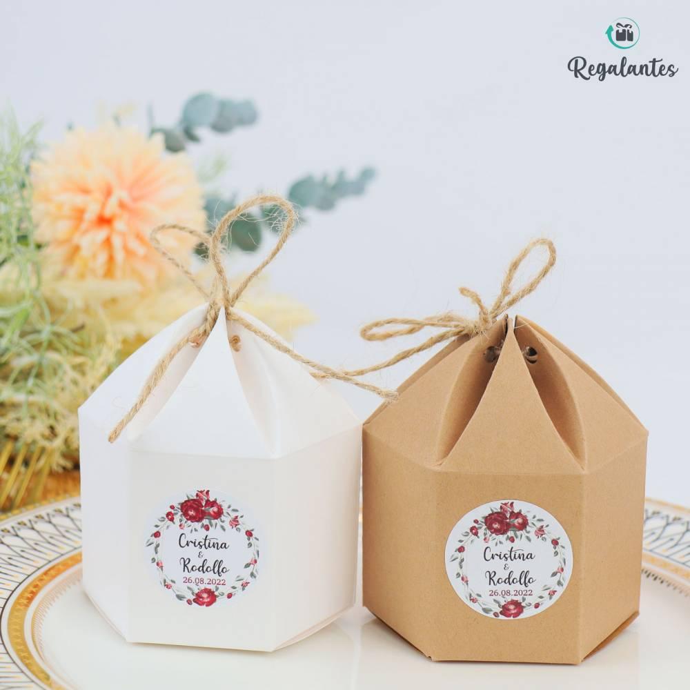 Caja para regalo Boda invitados cartón Redonda con lazo - Envoltorio Regalo