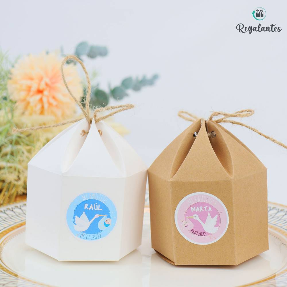 Caja para regalo bautizo invitados cartón Redonda con lazo - Envoltorio Regalo
