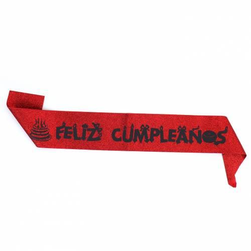 Banda de cumpleaños con purpurina Rosa, Morado, Azul, Plateado, Rojo o Dorado - Decoración Cumpleaños