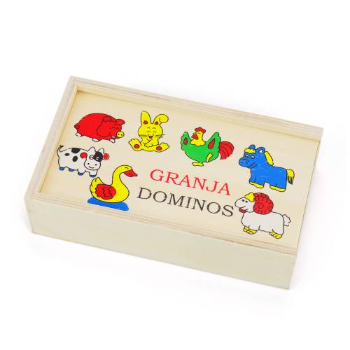 Domino infantil madera con dibujos Animales y Frutas para niños - Detalles Boda Niños