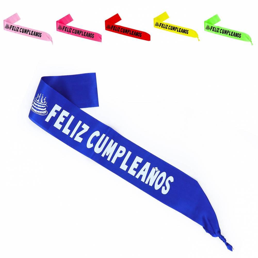 Banda de Cumpleaños Azul Rosa Fucsia Rojo Verde Amarillo - Decoración Cumpleaños
