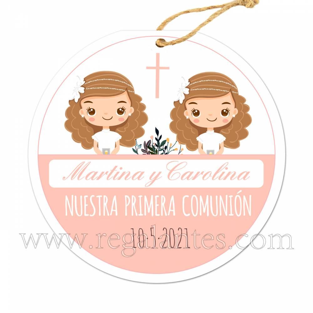 Etiqueta Comunión Personalizada Niñas Gemelas - Pegatinas Y Etiquetas Personalizadas Comunión