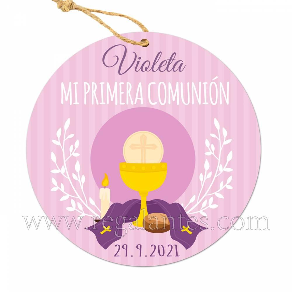 Etiqueta Comunión Personalizada Niña Violeta - Pegatinas Y Etiquetas Personalizadas Comunión