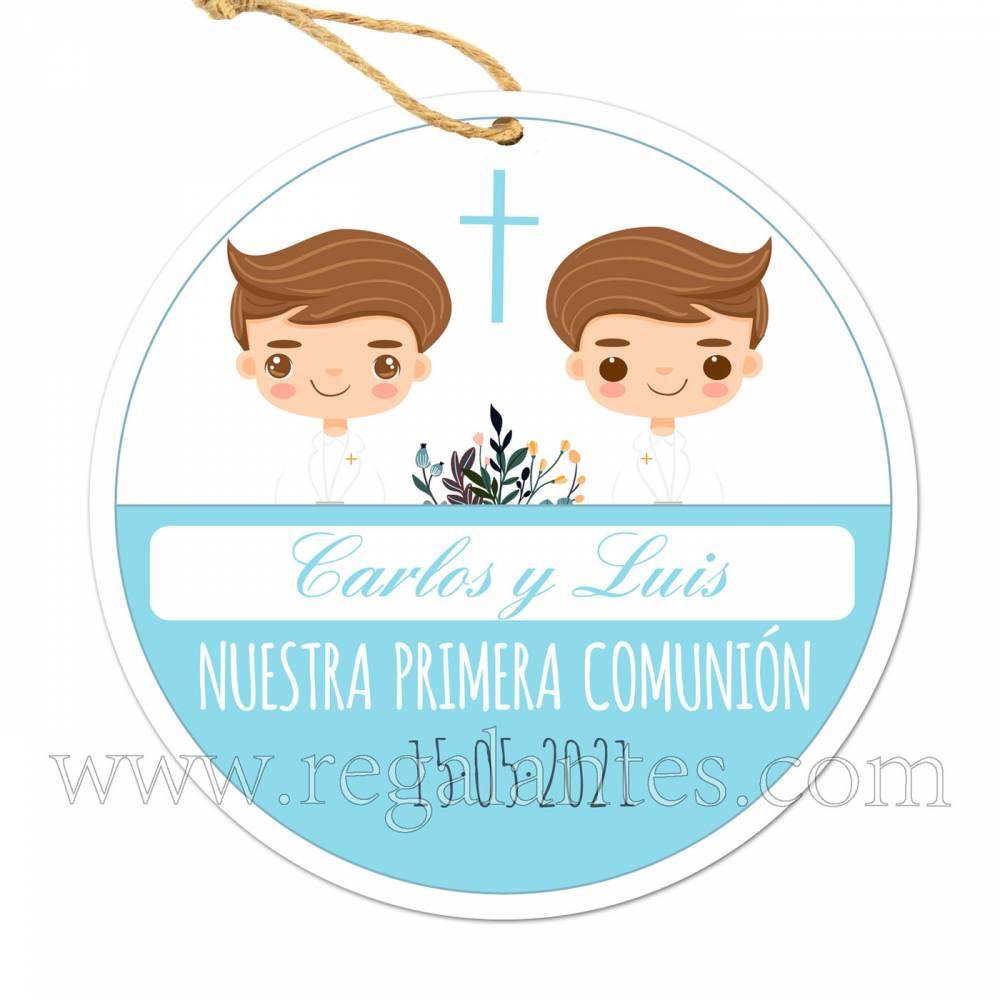Etiqueta Comunión Personalizada Niños Gemelos - Pegatinas Y Etiquetas Personalizadas Comunión