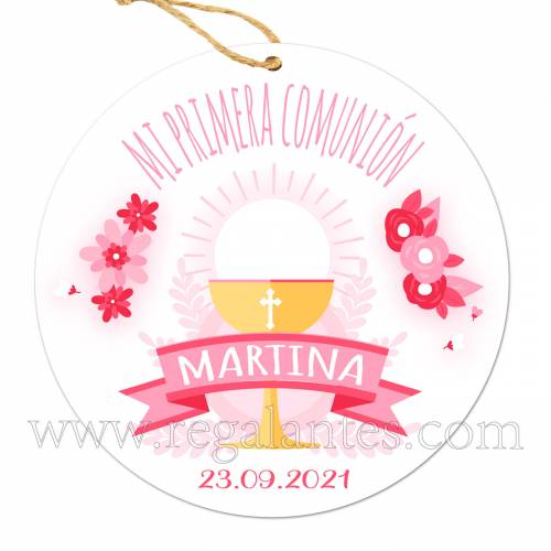 Etiqueta Comunión Personalizada Niña Rosa - Pegatinas Y Etiquetas Personalizadas Comunión
