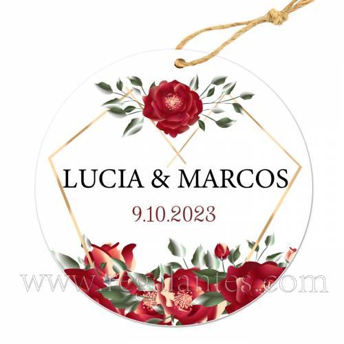 Etiqueta Boda Personalizada Amapola - Pegatinas Y Etiquetas Personalizadas boda