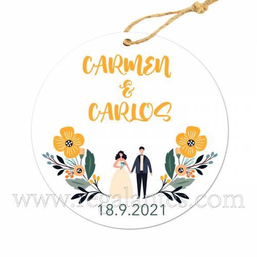 Etiqueta Boda Personalizada Girasol - Pegatinas Y Etiquetas Personalizadas boda