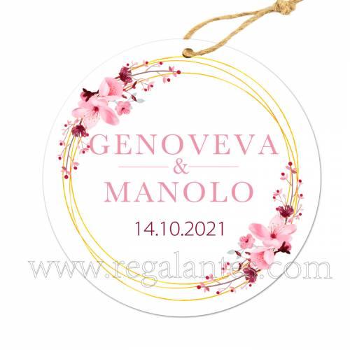 Etiqueta Boda Personalizada Pink Crown - Pegatinas Y Etiquetas Personalizadas boda