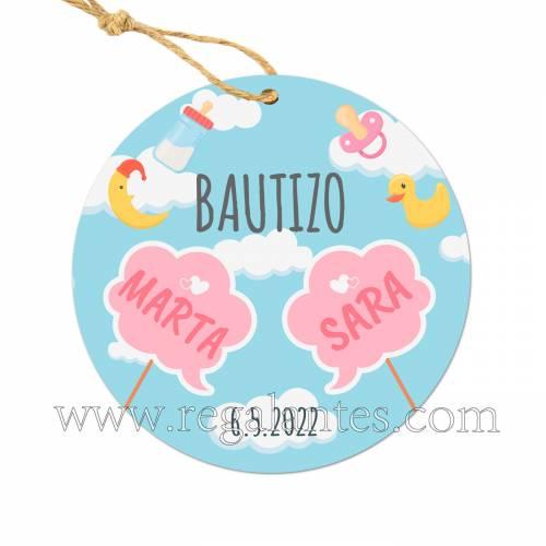 Etiquetas Bautizo Personalizada Gemelas - Pegatinas Y Etiquetas Personalizadas boda