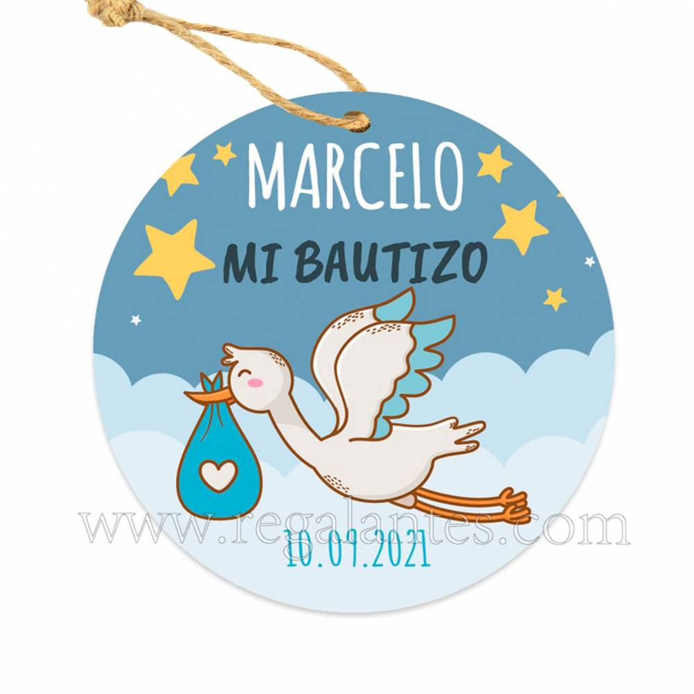 Etiqueta Bautizo Personalizada Niño Noche - Pegatinas Y Etiquetas Personalizadas Bautizo