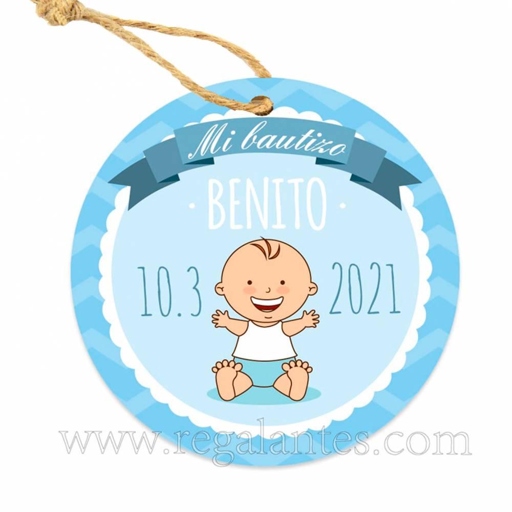 Etiqueta Bautizo Personalizada Niño Olas - Pegatinas Y Etiquetas Personalizadas Bautizo