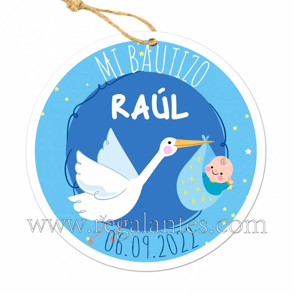 Etiqueta Bautizo Personalizada Niño Raúl - Pegatinas Y Etiquetas Personalizadas Bautizo