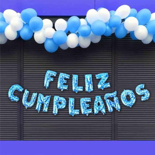 """Globos azules """"Feliz cumpleaños"""" - Decoración Cumpleaños"""