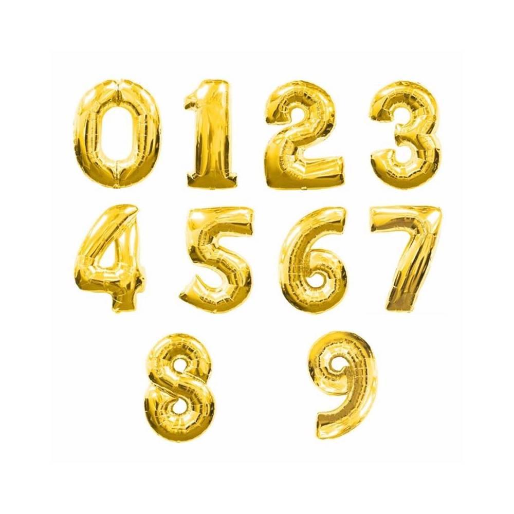 Globos metálicos de números cumpleaños Oro - Inicio