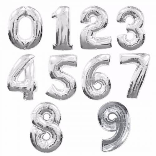 Globos metálicos de números cumpleaños Plata 45cm - Decoración Cumpleaños